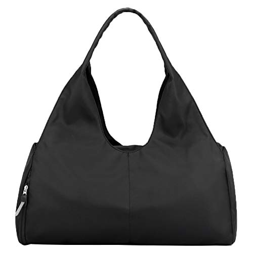 Forestfish Duffel Bag Gym Totes with Dry Wet Pocket & Shoes Compartment for Women and Men,Black