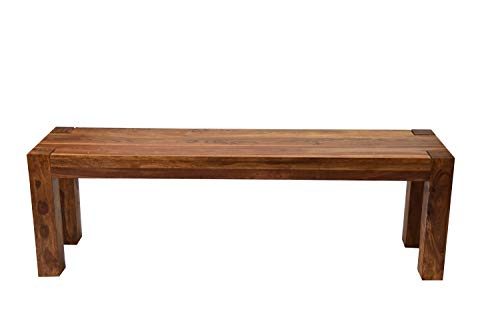 AISER Royal Massive Echt-Holz Palisander Sitzbank -Salerno- 140 x 35 cm aus besonders schön gezeichnetem Sheesham-Holz in modernem zeitlosen Design