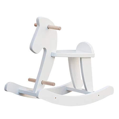 labebe Klassisches Weiß Schaukelpferd aus Holz, Gift for Kid 1,2,3. Liebenswerte Spielkameraden