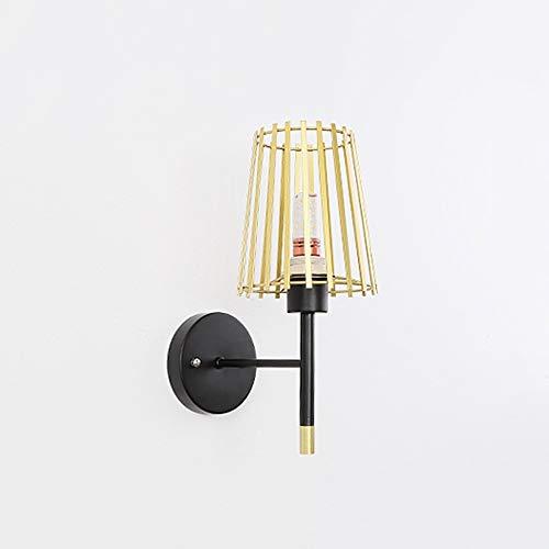 Lighfd IJzeren muur Lamp, Ronde E27 Lamp van de muur Moderne stijl metalen beugel Light Simple wandlamp, geschikt for hal, woonkamer, balkon, slaapkamer (Gold)