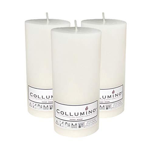 Collumino® - Velas grandes de 120 horas, color sólido, tamaño 15 x 7 cm, color blanco, paquete de 3