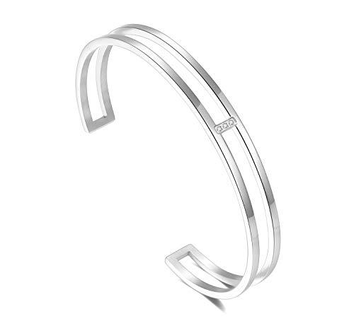 URBANHELDEN - Armreif mit Kristallen - Damen Schmuck - Verstellbar, Edelstahl - Armband mit Zirkonia Steinchen - Damenarmband Schmuck - Silber