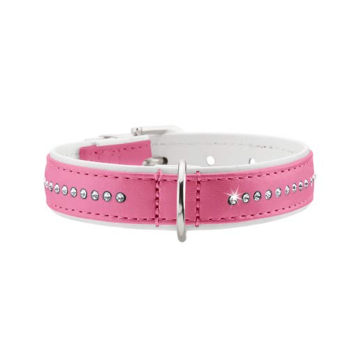 MODERN ART LUXUS Hundehalsband, Kunstleder, Strasssteinchen, 24 (XXS-XS), pink/weiß