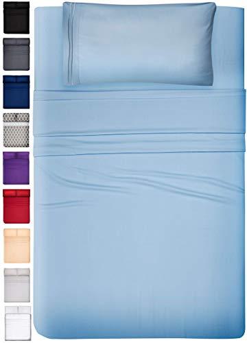 DREAMCARE Deep Pocket Sheets Microfiber Sheets Bed Sheets Set 3 Piece Bedding Sets Twin XL Size, Light Blue