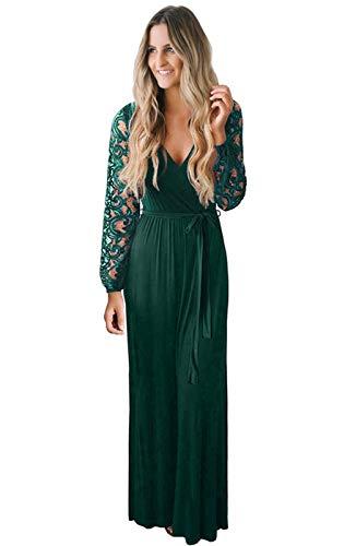 Zattcas Women's Vintage Lace Long Sleeve Wrap V Neck Evening Party Maxi Dress Dark Green X-Large