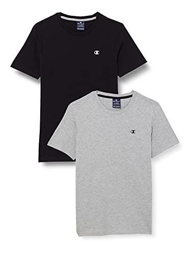 Champion Legacy Classic C-Logo Camiseta, Gris Jaspeado Claro & Negro, 13-14 Años (Pack de 2) para Niños