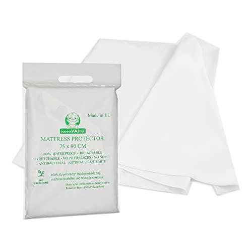 MammaVaiTra Traversa impermeable salvapipi para bebé – 100% algodón Oeko Tex y fondo de PVC, 75 x 90 cm