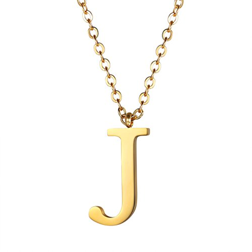 PROSTEEL Women Stainless Steel Letter J Pendant Necklace Custom Initial Alphabet Gold Choker Necklaces