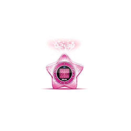VTech – KidiMagic Starlight Rosa – Wecker für Kinder – Radio Wecker mit Lautsprecher und animierter Projektion – Version FR