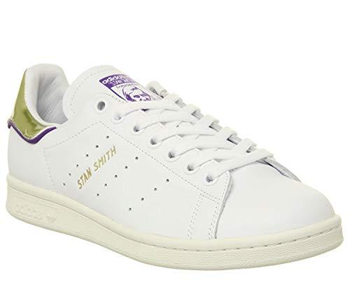 Adidas Stan Smith Herren-Turnschuhe, Weiß - Elizbeth Tfl Weiß Violett Gold Metallic - Größe: 36 2/3 EU