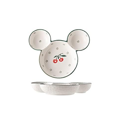 Placa de Rejilla de cerámica Blanca Placa de Cena para bebé Placa de Cena para niños Placa de Cena para niños Vajilla de bebé (Color : C)