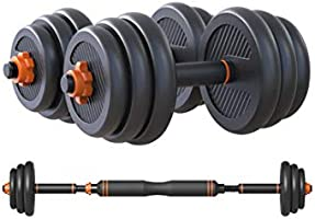 Skyland 20kgs Unisex Adult Enviromental Adjustable Dumbbell N Barbell Set - Black, L 50 x W 40 x 20