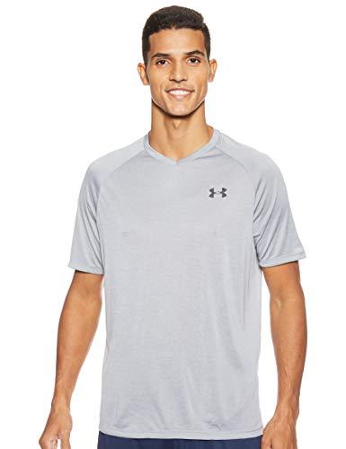Under Armour Men's Tech 2.0 V-Neck Short Sleeve T-Shirt, Steel (035)/Black, Medium