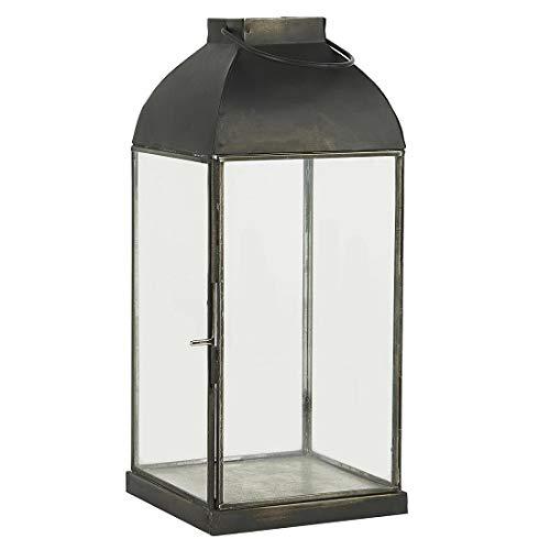 Ib Laursen Zwart Glas Lantaarn/Pijler Kaarsenhouder Met Haak 35 cm