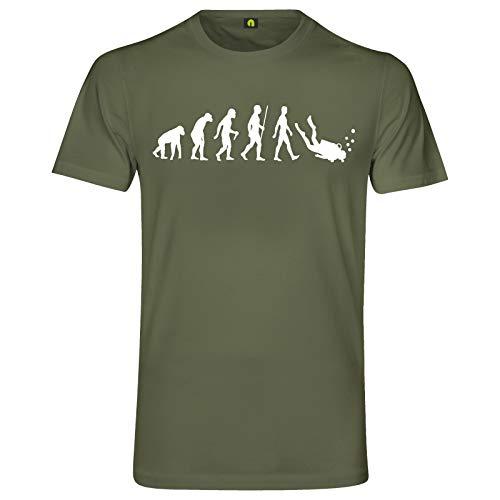 Evolution Tauchen T-Shirt   Taucher   Schnorcheln   Dive   Diving   Wasser Militär Grün L