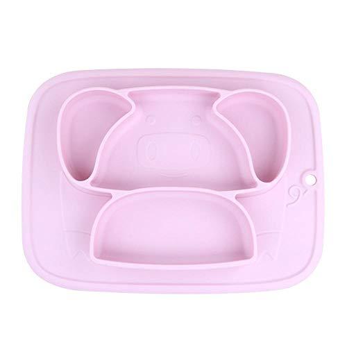Zyf Bebé De Silicona Placa De Cena De Comederos De Contenedores Mantel Vajilla Niños Alimentos For Bebés Alimentación Infantil (Color : Pink Purple)