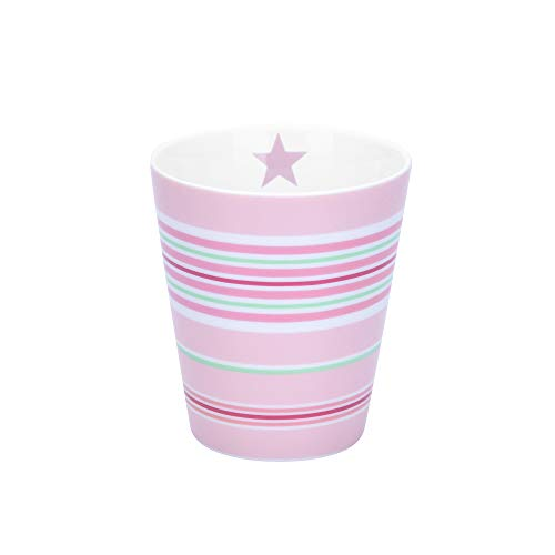 Krasilnikoff - Becher, Tasse - Happy Mug - Multi Stripes Pink - ca. 330 ml - Höhe: 10 cm