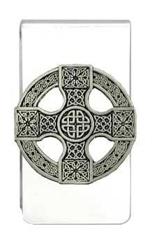 'Celtic Cross Shield' Pewter Charm Silver Tone Money Clip