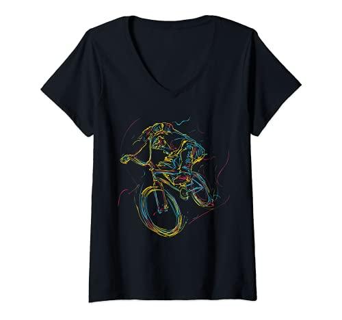 Mujer Arte abstracto colorido Barra de BMX Gira 180 360 Camiseta Cuello V