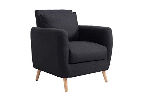 CLP Polstersessel TILGARD mit Armlehnen und Stoffbezug I Belastbarer Loungesessel mit Holzbeinen, Farbe:schwarz