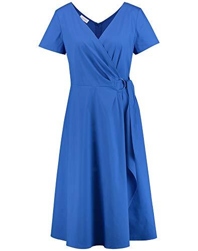 Gerry Weber Damen Kleid Mit Volant Tailliert Ozean 42