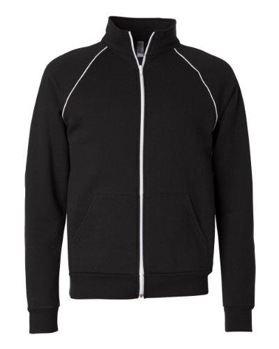 Bella 3710 Mens Piped Fleece Jacket - Black & White44; 2XL
