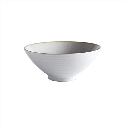 LYMUP Vajilla, Tazón de Cerámica Tazón de Cerámica de Restaurante Cubiertos de Hogar Estofado de Porcelana Glutinoso Arroz Postre de Fruta Ensaladera de 8 pulgadas (Color: Blanco)