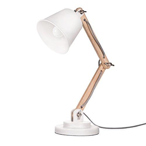 Tomons dekorative Tischlampe, Vintage Design für Wohnzimmer Schreibtisch und Nachttisch, Holz, LED-Lampe INCL, Weiß