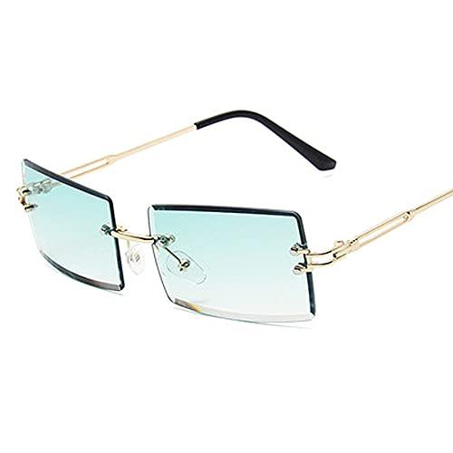 YYMM Gafas de Sol sin Montura de Moda, Gafas de Gafas de Sol de aleación Rectangular, Gafas de Lentes de Color Degradado UV Viaje de Viaje Varios Gafas de Sol,B