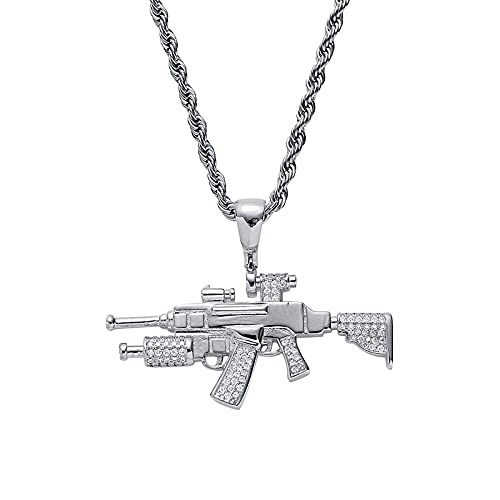 Hip Hop kamień betonowa Bling Iced Outniper karabin CS GO Gun wisiorki naszyjniki dla mężczyzn biżuteria raper -silver_22 inch