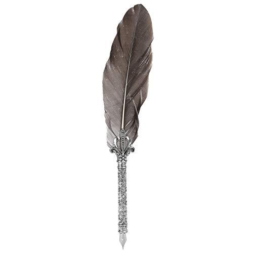 Pluma de pluma Pluma de escritura de tinta de inmersión duradera con pluma caligráfica tallada para escribir caligráfico(SP051044 gray floating)