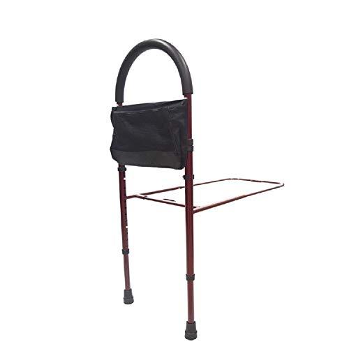Sänggaller äldre sängskenor – ställbar höjd säng skena assistent, natthandled för funktionshindrade, äldre, vuxna, metallram (färg: Röd)
