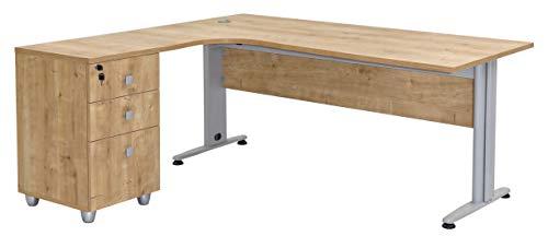 Furni24 Schreibtisch Winkelschreibtisch Homeoffice Dona Eiche 180 cm x 120 cm x 74 cm inkl....