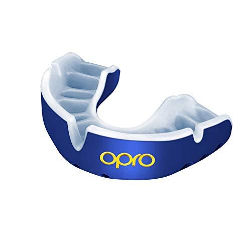OPRO Protector Bucal Self-Fit Gold - Protector bucal - para Rugby, Hockey, Lacrosse, fútbol Americano, Baloncesto y más - Fabricado en Reino Unido (Azul Perla/Perla, Adulto)