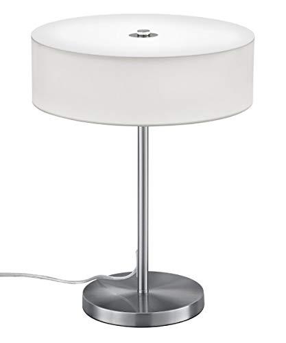 Preisvergleich Produktbild Trio Leuchten 571911201 Lugano A+,  LED Tischleuchte,  nickel,  12 watts,  Integriert,  Stoffschirm Weiß,  30 x 30 x 40 cm