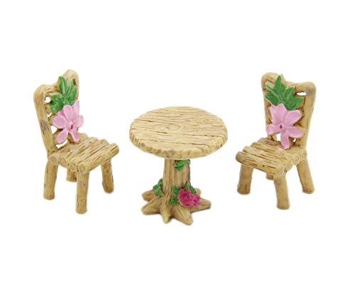 LIERKISS 3Pcs/Set Cute Table Chair Micro Landscape Ornament Fairy Garden Miniature Decor