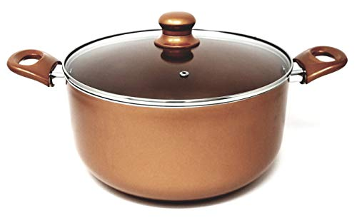 Better Chef, D1004, 10-Quart Copper Colored Ceramic Coated Dutch Oven with Tempered Glass Lid