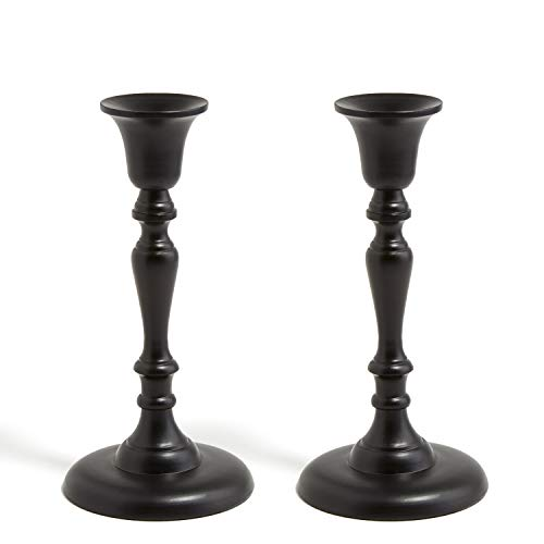 LampLust Black Taper Candle Holder Set - 8.5 Inch Tall, Metal Candlesticks, Traditional Shape with Matte Black Finish, Fits Standard Tapered Candles, Pack of 2