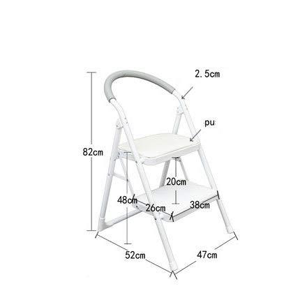 ZSPSHOP Home dubbele ladder binnenklapladder antislip met visgraatpatroon ladder plank multifunctionele trapontladder (grootte: 47 * 52 * 82cm)