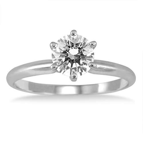 AGS - Anello di diamante solitario da 1ct, in oro bianco 14ct (J-K color, I2-I3 Clarity), oro bianco, 11