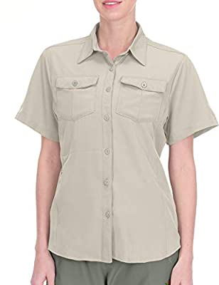 Little Donkey Andy Women's Stretch Quick Dry UPF50+ Short Sleeve Shirt for Hiking, Travel, Camping Khaki Size XL