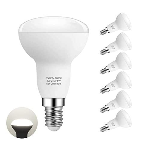 Ampoule Led E14 Lampe, Blanc Froid 6000K, R50 Led 5W (40W Ampoules Halogène Équivalent), Angle du faisceau 180°, Pack de 6 By Pursnic