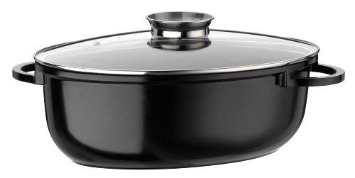 GSW 410588 Gourmet Ceramica Induktion Bräter XXL oval mit Aroma-Glasdeckel 42x27cm / ca. 10,0 Liter, Aluguss, schwarz gesprenkelt, 42 cm, 4-Einheiten