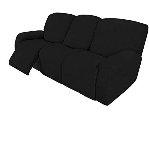 Ybzx Fodere per Divano reclinabili 8 Pezzi Fodere per Divano reclinabili Elasticizzate per 3 Cuscini Fodere per Divano Fodere per mobili con Fondo Elastico Spesso e Morbido Lavabile (Nero)