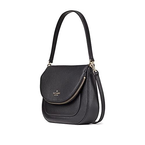 Kate Spade Leila Soft Pebbled Leather Medium Flap Shoulder Bag Women's Handbag WKR00330 (Black)