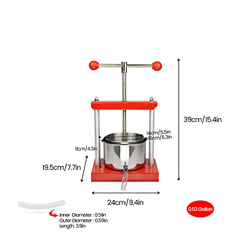 SQUEEZE master Cheese Tincture Herb Fruit Wine Manual Press -0.53Gallon/ 2 Litre-Power Ball Handle-Stainless Steel & Iron for Juice, Herbal Juice,Cider,Wine,Olive Oil