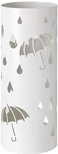 Baroni Home Portaombrelli Cilindrico Porta Ombrelli in Metallo con Intagli a Forma di Pioggia e Ombrelli Bianco con Gancino e Vaschetta Scolapioggia Rimovibile Ø18,5 x 49 cm