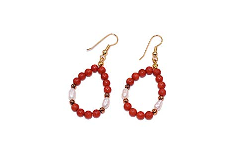 SchmuckDesignByEmma Coral earrings with freshwater cultured pearls.