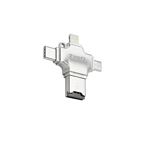 Tooq TQR-4001- Lector Tarjetas de Memoria Micro SD 4 en 1 Adaptador Tarjetas USB/Lightning/Micro USB/Tipo C. Lector de Tarjetas para Apple iPhone, iPad, MacBook y Android