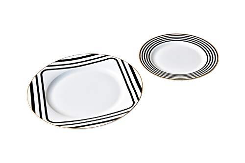 Plato llano (porcelana, diámetro de 21 cm y diámetro de 27 cm), color negro y blanco